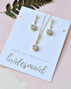 Dareth Colburn Classic Elegance Bridesmaid Pendant Set (JS-1700-BR) Wedding Necklace photo