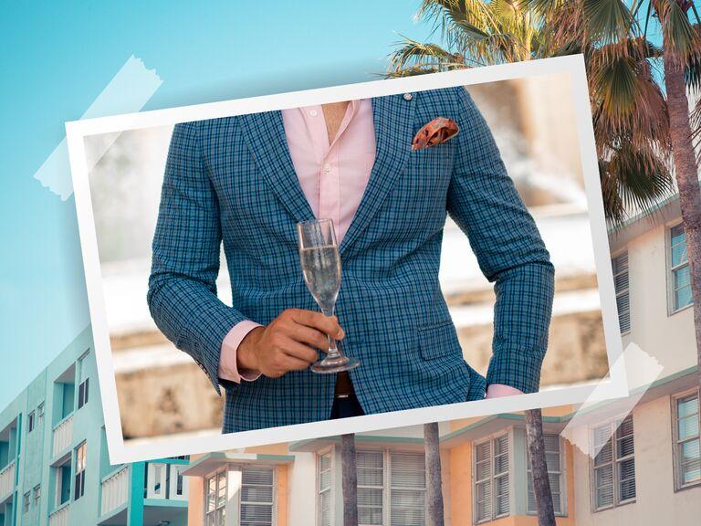 Patrick Van Negri wears suit separates from nautica tailored shop