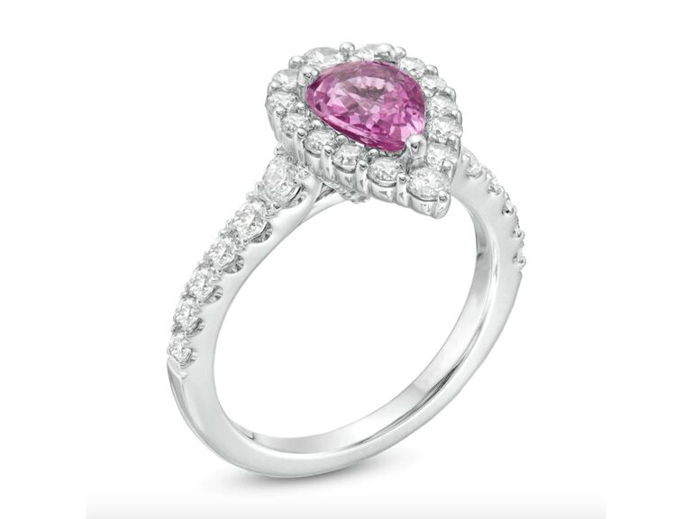 Vera Wang Love Collection pear-shaped pink sapphire with diamonds in 14K white gold