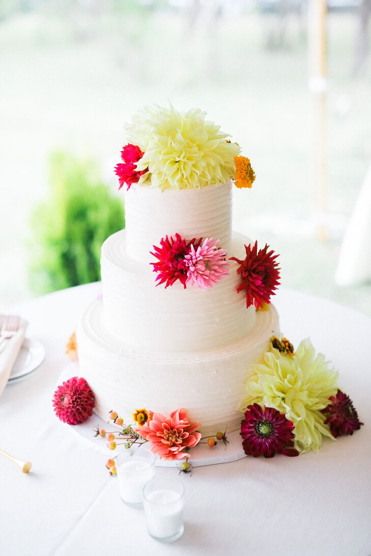 Combed Buttercream Cake with Cheery Blooms