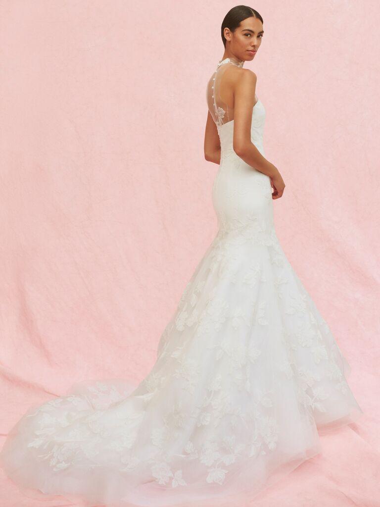 Carolina Herrera Margot lace trumpet wedding dress with halter neckline
