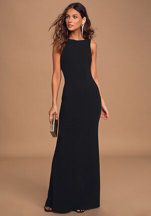 Lulus Love In Your Eyes Black Knotted Mermaid Maxi Dress Bateau Bridesmaid Dress