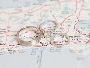 Rings on map of honeymoon road trip