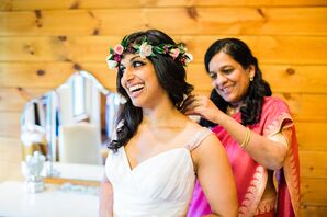 Traditional Pink and Gold Mother-of-the-Bride Sari