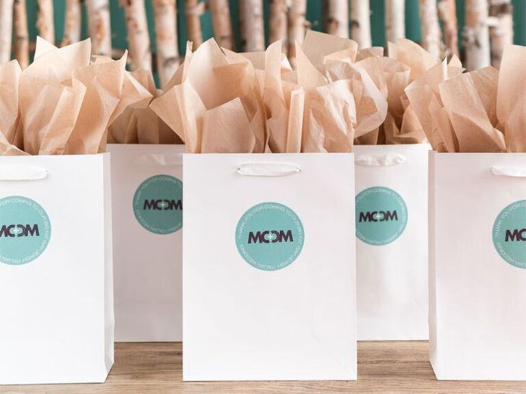 Gift-wrapped bridal shower favors