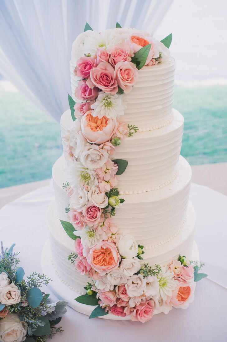 Tiered Cake with Cascading Garden Roses
