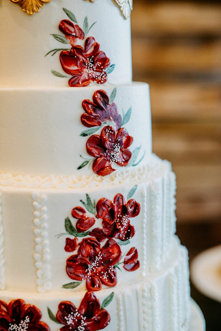Hand-Painted Red Flowers on White Wedding Cake