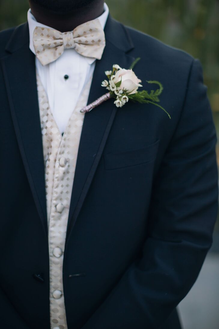 Blush Rose and Baby's Breath Boutonniere with Satin Wrap
