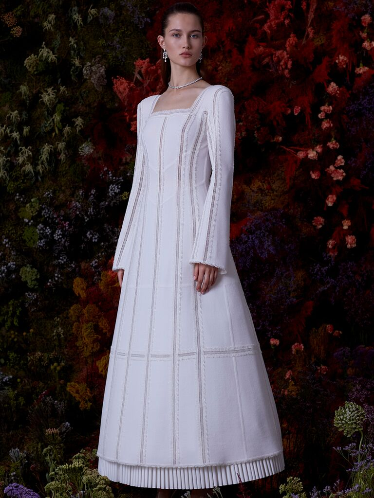 EDEM A-line dress with structured skirt and long sleeves