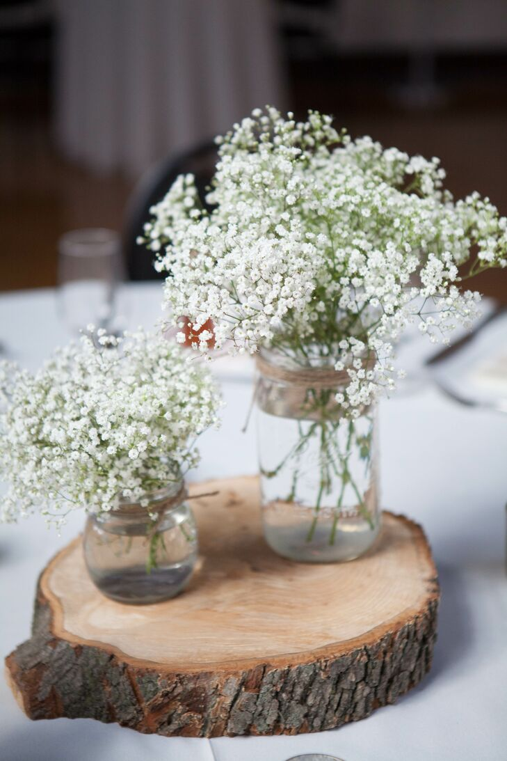 Rustic Mason Jar Babys Breath and Wood Centerpieces