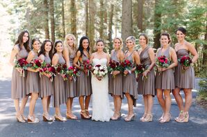 Brown Knee-Length Bridesmaid Dresses