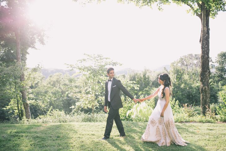Ivory Wedding Gown With Gold Embroidery On Skirt