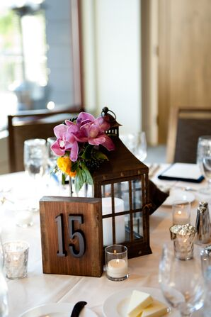 Rustic Lantern and Orchid Centerpieces