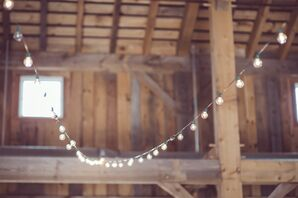 Barn Reception with String Lights