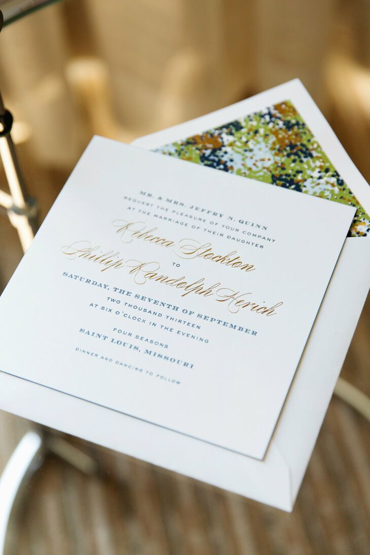 Becca and Phil worked with Cheree Berry Paper to create their own Kate Spade-inspired stationery. The invitations were in a square style with traditional, letter press, script typeface in navy and gold. The insides of the invitations were a gold, navy and green specked pattern reminiscent of Kate Spade's Twirl collection.