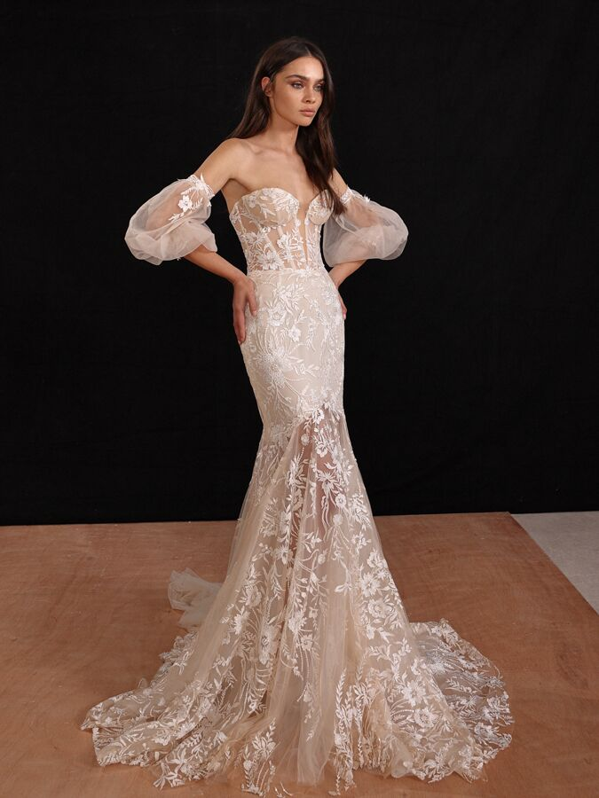 Gala by Galia Lahav trumpet corset wedding dress with puff sleeves