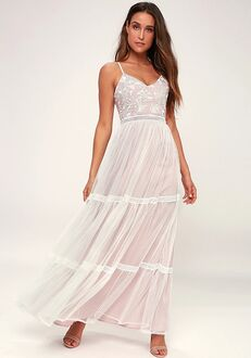 Lulus Elenora White Embroidered Maxi Dress A-Line Wedding Dress