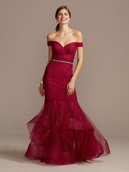 Glamour by Terani off-the-shoulder glitter mesh gown with horsehair trim
