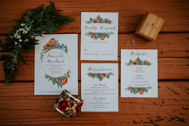 """A good friend did our invitations and all of our stationery,"" Dani says. ""I told her it would be really important to find something that was either made of recycled paper or something that could be recycled later on. She did some digging and found some really cool recycled paper."""