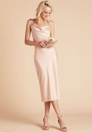Birdy Grey Lisa Satin Midi Dress in Rose Gold Scoop Bridesmaid Dress