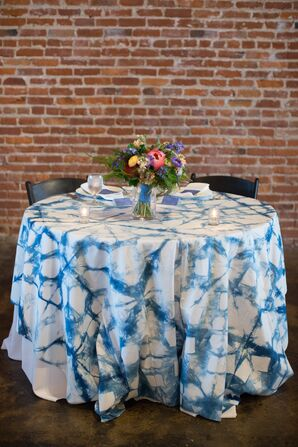 Blue Bohemian Tie-Dye Sweetheart Table