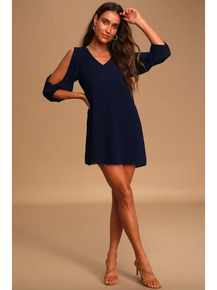 Navy midi dress with cold-shoulder long sleeves