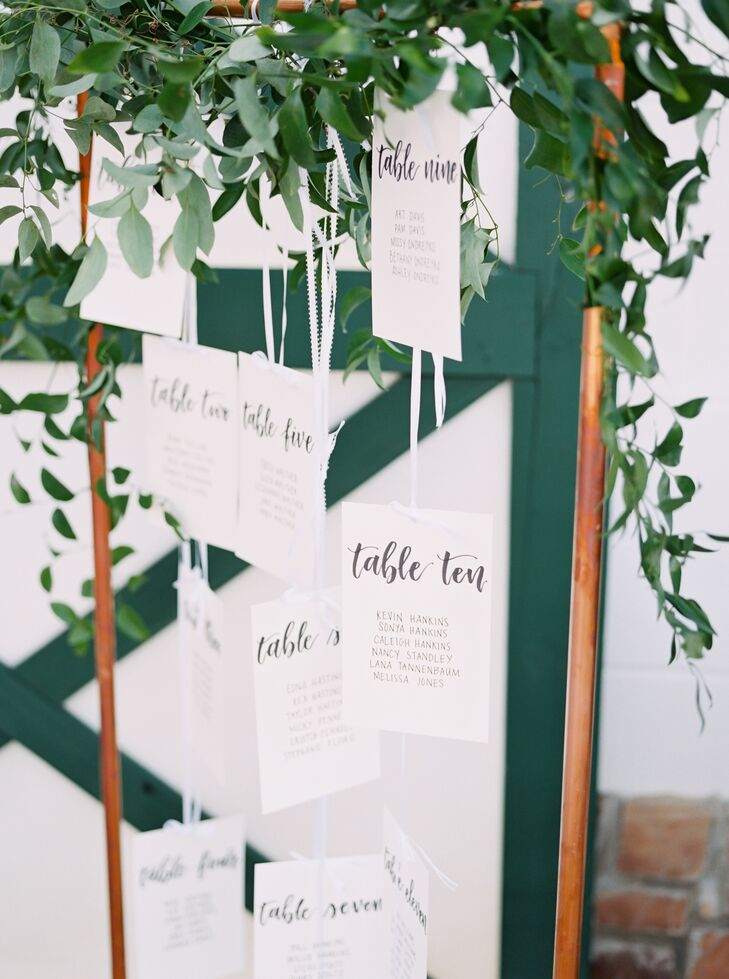 Modern Escort Cards with Calligraphy and Greenery