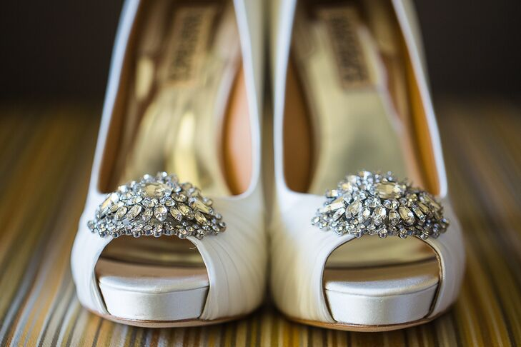Bejeweled Badgley Mischka Peep-Toe Heels