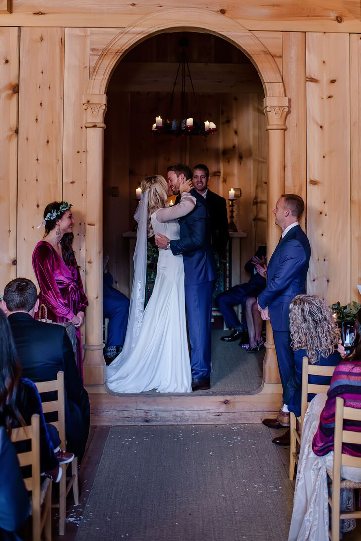 Long-Sleeve Silk, Chiffon Wedding Dress with Drop Waist