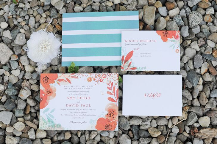 Wedding Paper Divas created teal and coral wedding invitations for Amy and David's soft and romantic affair. With floral designs on the invitation and RSVP cards, the guests got an idea of the floral masterpieces that they were going to find on the wedding day. Good thing Frankenmuth Florist delivered!