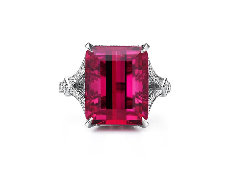 Rubellite and diamond engagement ring
