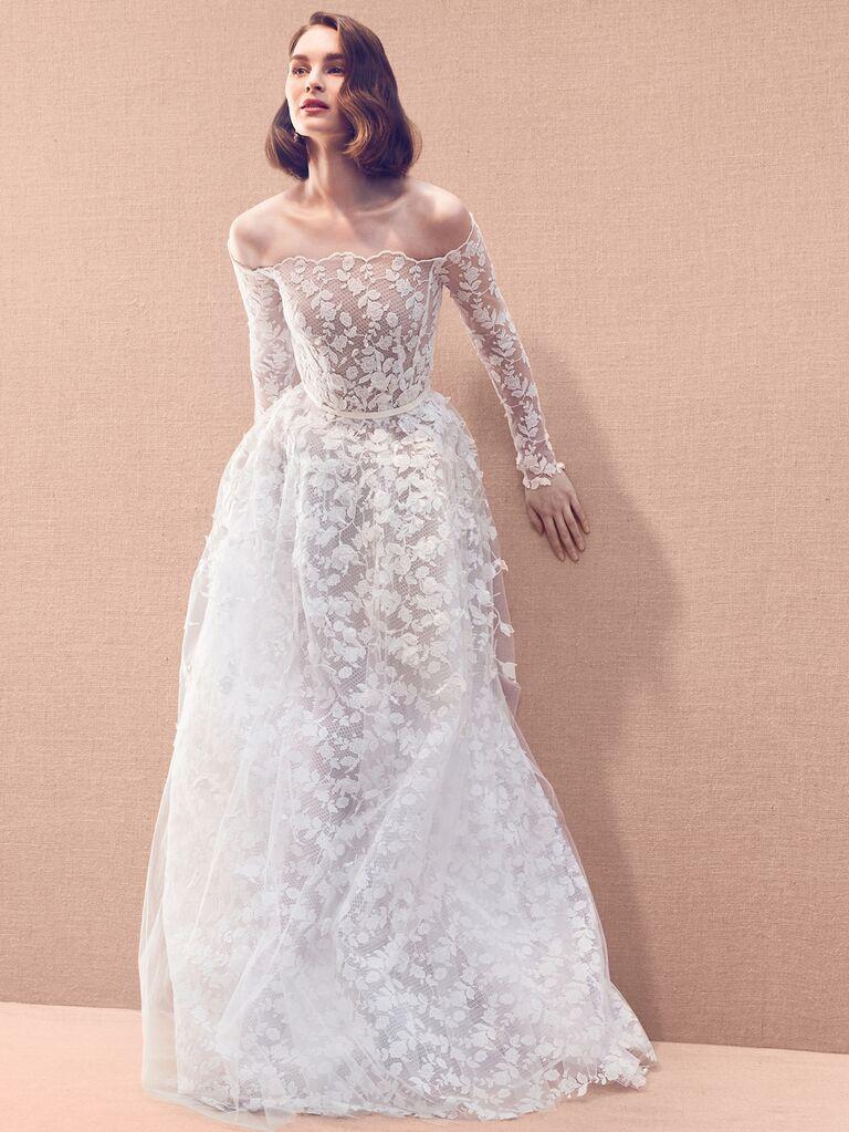 Oscar de la Renta Spring 2020 Bridal Collection lace floral off-the-shoulder wedding dress with long sleeves