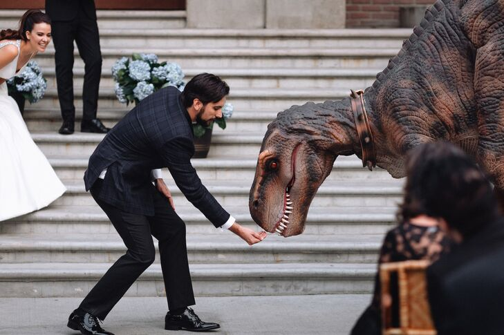 Groom with a Dinosaur Prop at Universal Studios Backlot in Hollywood