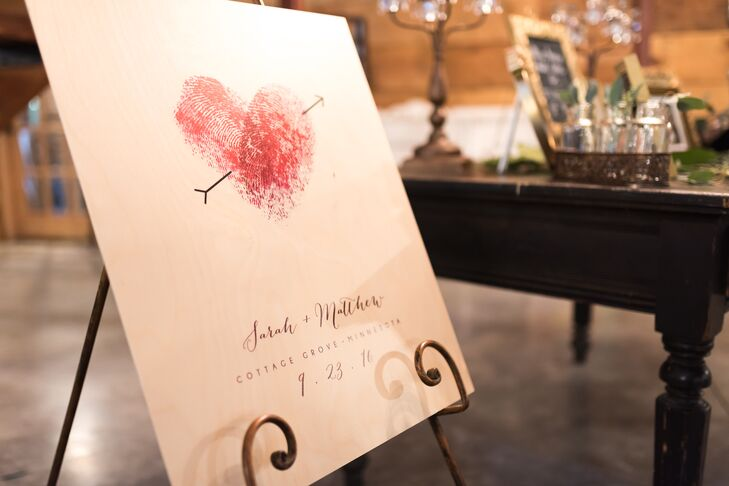 The guest book featured Sarah and Matt's thumbprints, blown up in the shape of a heart.