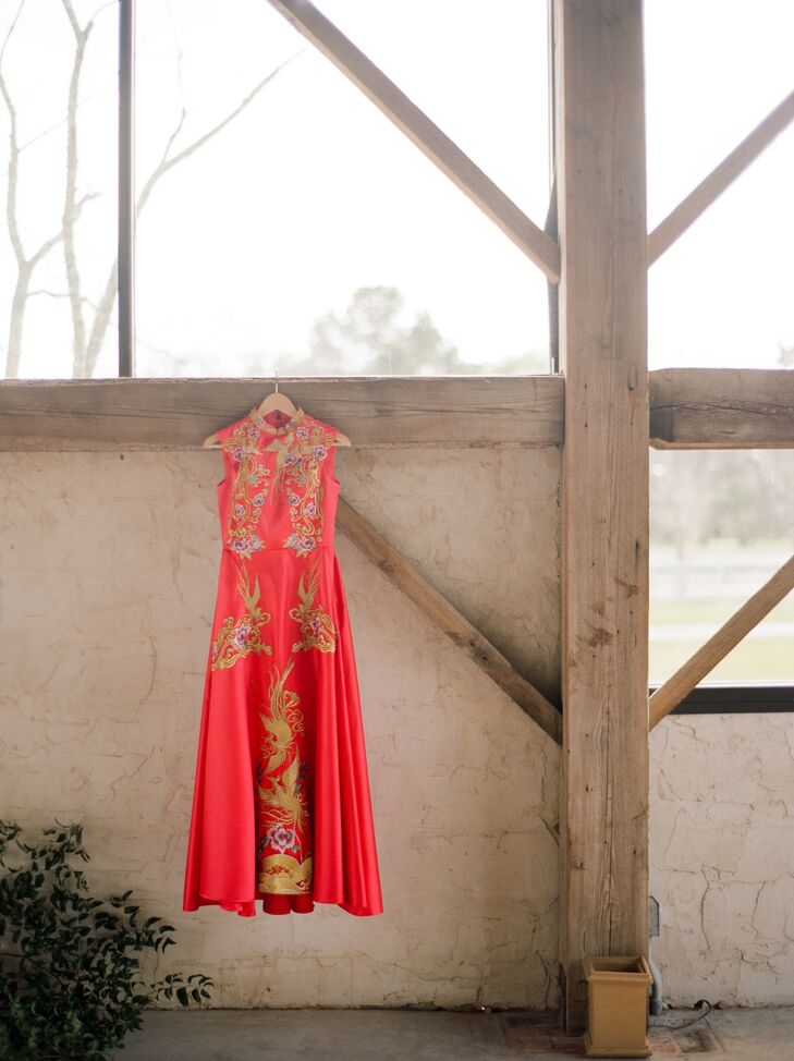 After the ceremony, Deborah changed into a traditional Chinese wedding dress (called a qipao), which was personally tailored by her aunt-in-law.