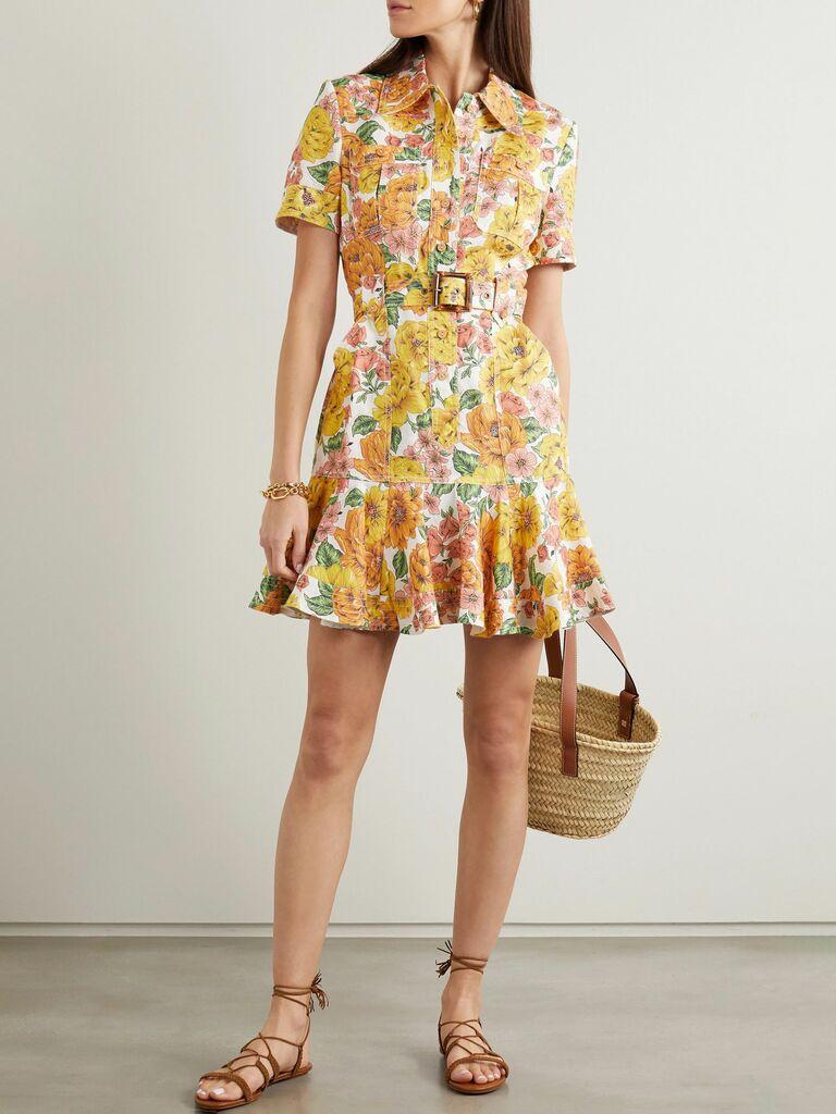 yellow floral print shirt dress with belt