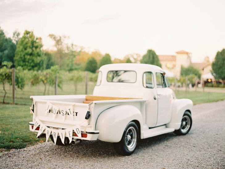 Vintage Pickup Truck with Just Married Sign