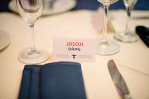 White, Red and Blue Simple Escort Card