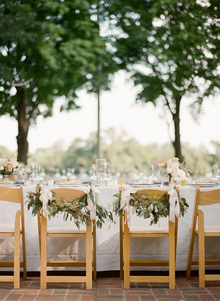 Eucalyptus Leaf Bride and Groom Chair Decor