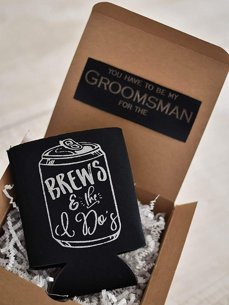 Koozie groomsmen proposal gift