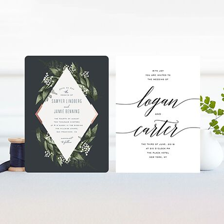 Customizable, artisan-design wedding invitations featuring your names and wedding details.