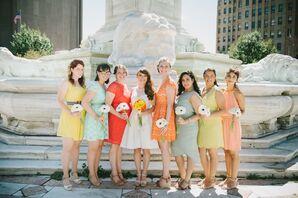 Mismatched Sorbet Colored Bridesmaid Dresses
