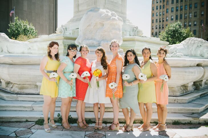 Bernice and Jason's sorbet color palette was more than evident in the bridesmaid dresses. Each woman chose a knee-length dress in a different pastel color.
