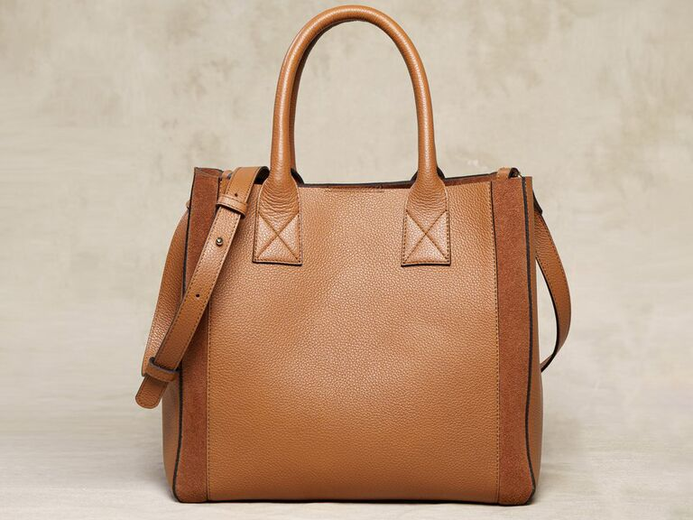 Gorgeous brown leather tote with suede details