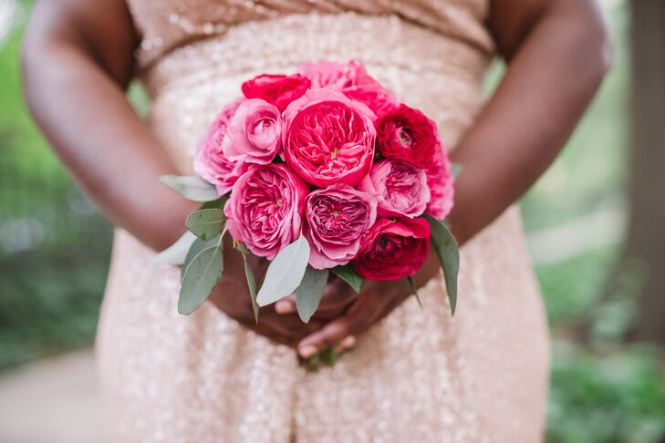 Small, Tight Bouquet of Bright Pink Peonies and Eucalyptus
