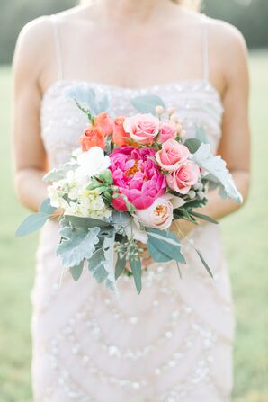 Pink Peony and Rose Bridesmaid Bouquet