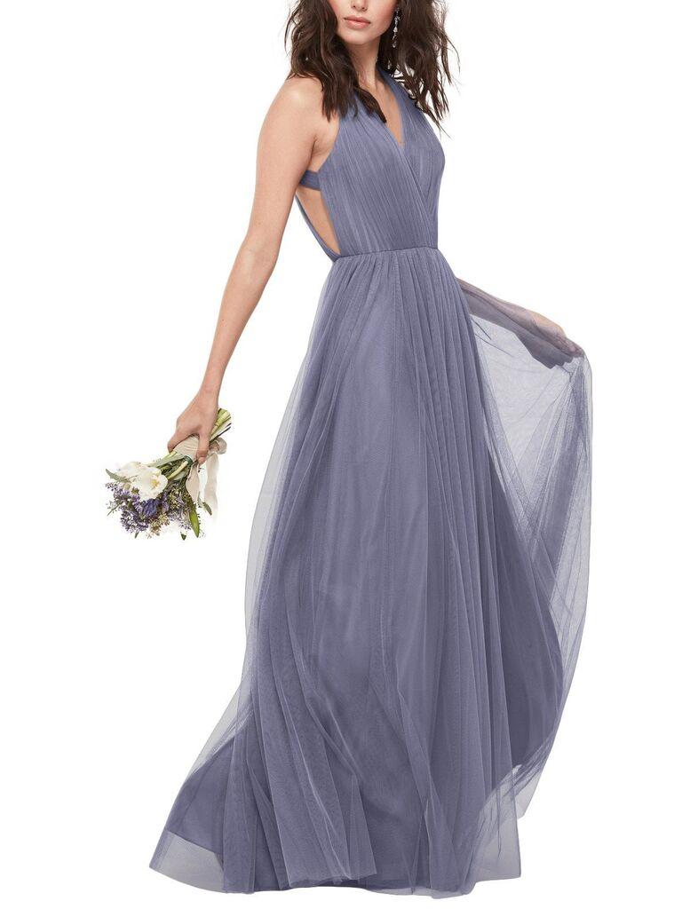Dark purple gray bridesmaid dress