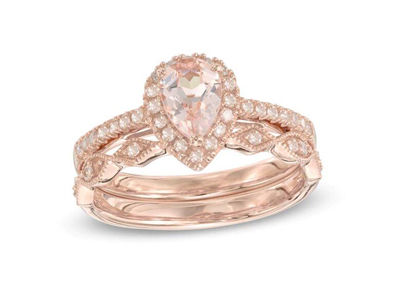 Zales pear-shaped morganite and diamond bridal set in 14K rose gold