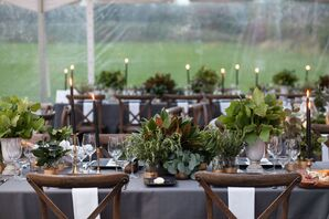 Leaf and Herb Centerpieces Accented with Metallics and Black Taper Candles
