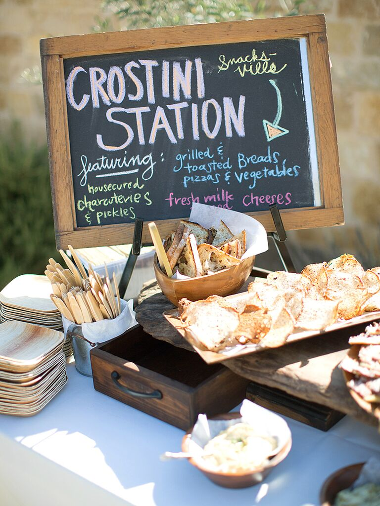 Crostini station idea for wedding reception food